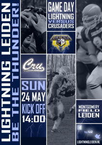 Lightning Leiden - Game day poster - Amsterdam Crusaders 24 05 2015