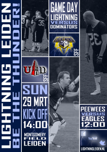 Lightning Leiden - Game day poster - SFF versus Dominators 29 03 2015